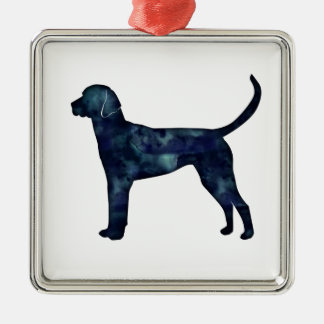 English Foxhound Black Watercolor Dog Silhouette Silver-Colored Square Ornament