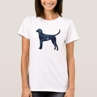 English Foxhound Black Watercolor Dog Silhouette T-Shirt