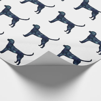 English Foxhound Black Watercolor Dog Silhouette Wrapping Paper