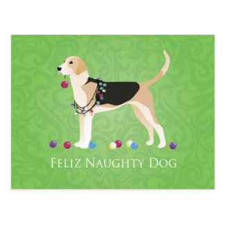 English Foxhound Christmas - Feliz Naughty Dog Postcard