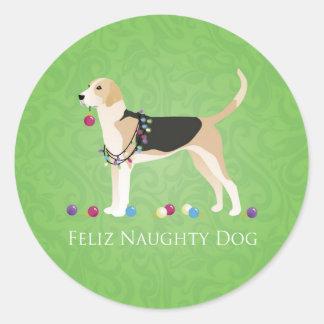 English Foxhound Christmas - Feliz Naughty Dog Round Sticker