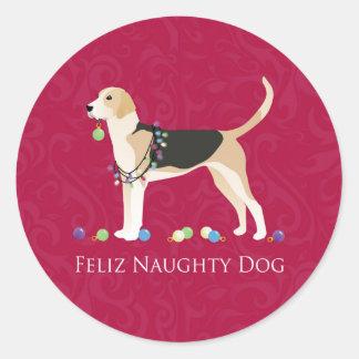 English Foxhound Christmas Round Sticker
