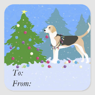 English Foxhound decorating Christmas Tree-forest Square Sticker