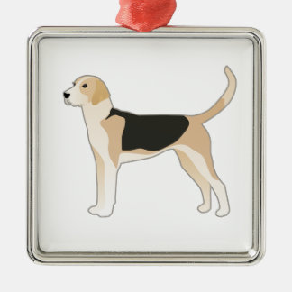 English Foxhound Dog Breed Illustration Silver-Colored Square Ornament