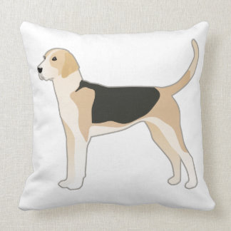 English Foxhound Dog Breed Illustration Throw Pillow
