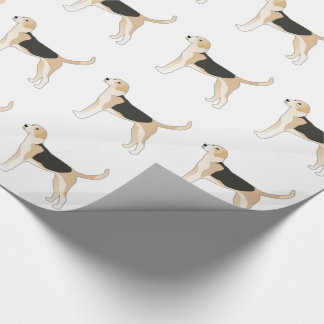 English Foxhound Dog Breed Illustration Wrapping Paper