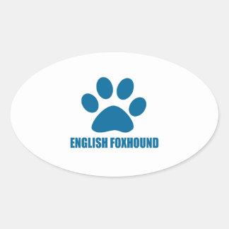 ENGLISH FOXHOUND DOG DESIGNS OVAL STICKER