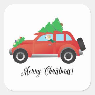 English Foxhound Dog Driving a Car -Christmas Tree Square Sticker