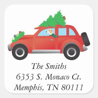 English foxhound dog driving car w/ Christmas tree Square Sticker