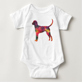 English Foxhound Geometric Pattern Dog Silhouette Baby Bodysuit