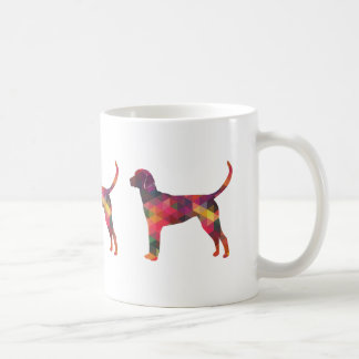 English Foxhound Geometric Pattern Dog Silhouette Coffee Mug