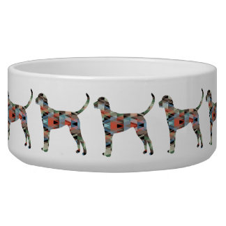English Foxhound Geometric Pattern Dog Silhouette Dog Water Bowls