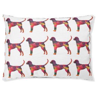English Foxhound Geometric Pattern Dog Silhouette Large Dog Bed
