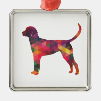 English Foxhound Geometric Pattern Dog Silhouette Silver-Colored Square Ornament