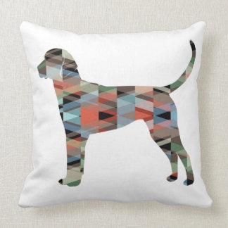 English Foxhound Geometric Pattern Dog Silhouette Throw Pillow