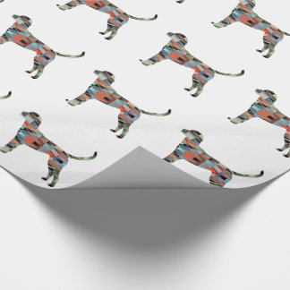 English Foxhound Geometric Pattern Dog Silhouette Wrapping Paper