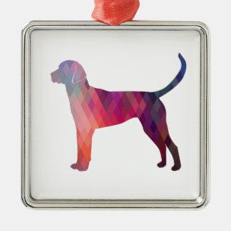 English Foxhound Geometric Pattern Silhouette Silver-Colored Square Ornament