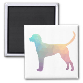 English Foxhound Geometric Pattern Silhouette Square Magnet