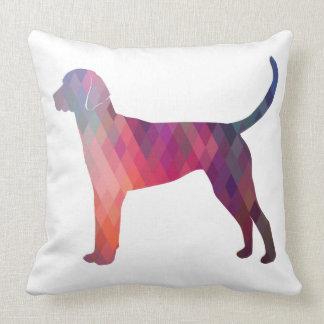 English Foxhound Geometric Pattern Silhouette Throw Pillow
