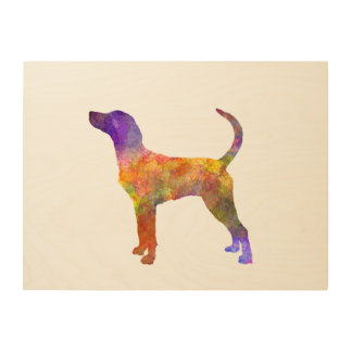 English Foxhound in watercolor Wood Wall Art