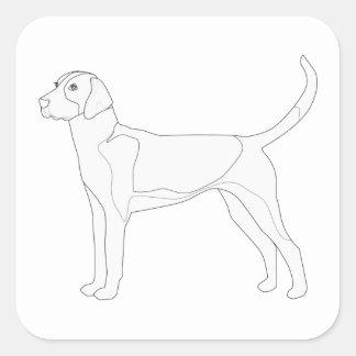 English Foxhound Ready to Color Design Square Sticker