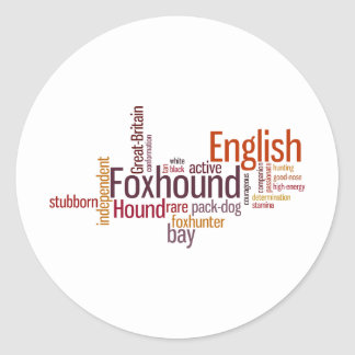 English Foxhound Round Sticker