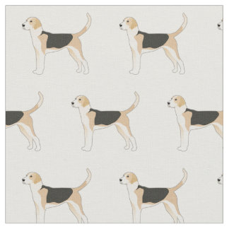 English Foxhound Silhouette Tiled Fabric