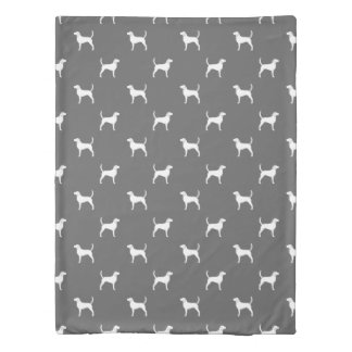 English Foxhound Silhouettes Pattern Grey Duvet Cover