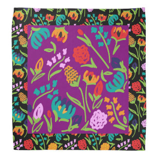 English Garden Black and Purple Bandana