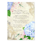 English Garden, Blue n Pink Hydrangeas Watercolor Card