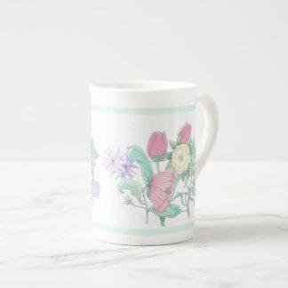 English Garden Bouquet White Porcelain Cup
