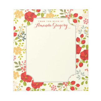 English Garden Floral Personalized Desk Notepad