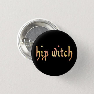 English HIP WITCH in Watercolor 1 Inch Round Button