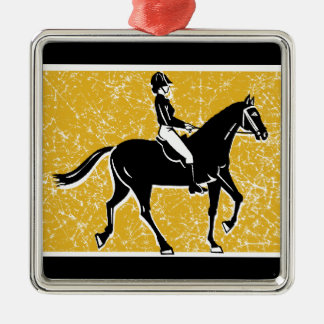 English Horse and Rider Metal Ornament