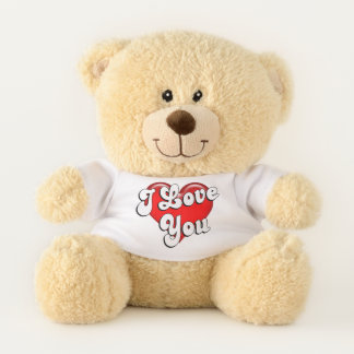 English I Love You Red Heart Teddy Bear