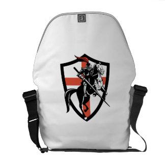 English Knight Riding Horse England Flag Retro Courier Bag