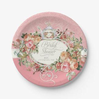 English Manor Vintage Rose Tea Party Bridal Shower Paper Plate