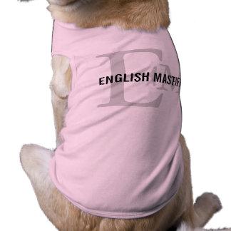English Mastiff Breed Monogram Design Dog Tshirt