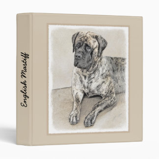 English Mastiff (Brindle) Painting - Original Dog 3 Ring Binders