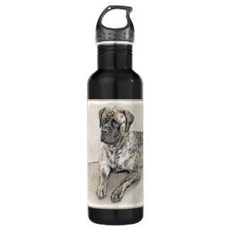 English Mastiff (Brindle) Painting - Original Dog 710 Ml Water Bottle