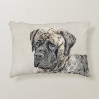 English Mastiff (Brindle) Painting - Original Dog Decorative Pillow