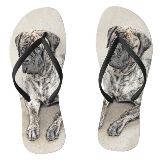 English Mastiff (Brindle) Painting - Original Dog Flip Flops