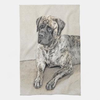 English Mastiff (Brindle) Painting - Original Dog Kitchen Towel