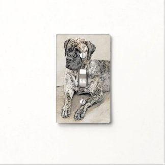 English Mastiff (Brindle) Painting - Original Dog Light Switch Cover