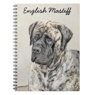 English Mastiff (Brindle) Painting - Original Dog Notebook