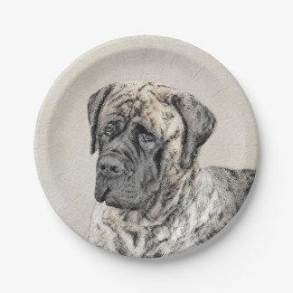 English Mastiff (Brindle) Painting - Original Dog Paper Plate