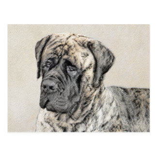 English Mastiff (Brindle) Painting - Original Dog Postcard