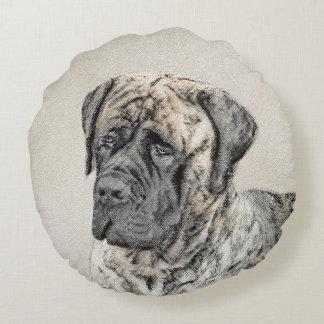 English Mastiff (Brindle) Painting - Original Dog Round Pillow