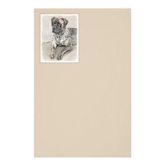 English Mastiff (Brindle) Painting - Original Dog Stationery