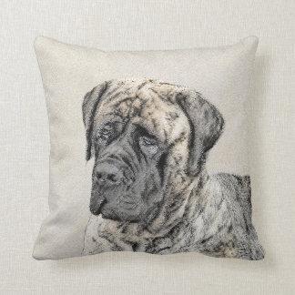 English Mastiff (Brindle) Painting - Original Dog Throw Pillow